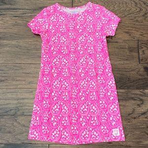 Small Girls Vineyard Vines Hit Pink & White Dress